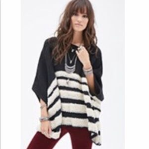 Forever21 boxy poncho sweater with textured stripe